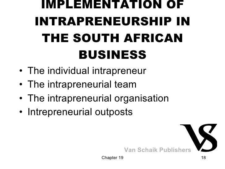 IMPLEMENTATION OF INTRAPRENEURSHIP IN THE SOUTH AFRICAN BUSINESS <ul><li>The individual intrapreneur </li></ul><ul><li>The...