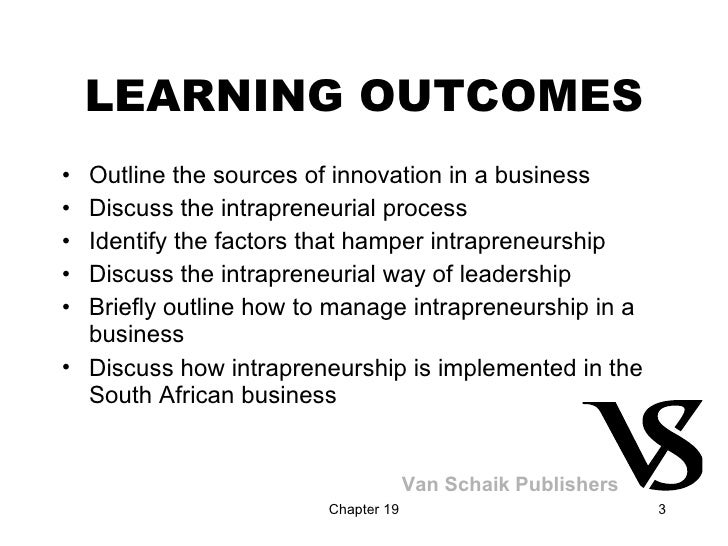LEARNING OUTCOMES <ul><li>Outline the sources of innovation in a business </li></ul><ul><li>Discuss the intrapreneurial pr...