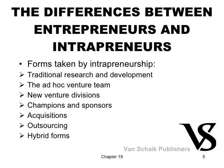 THE DIFFERENCES BETWEEN ENTREPRENEURS AND INTRAPRENEURS <ul><li>Forms taken by intrapreneurship: </li></ul><ul><li>Traditi...