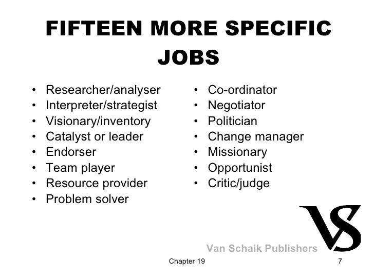 FIFTEEN MORE SPECIFIC JOBS <ul><li>Researcher/analyser </li></ul><ul><li>Interpreter/strategist </li></ul><ul><li>Visionar...