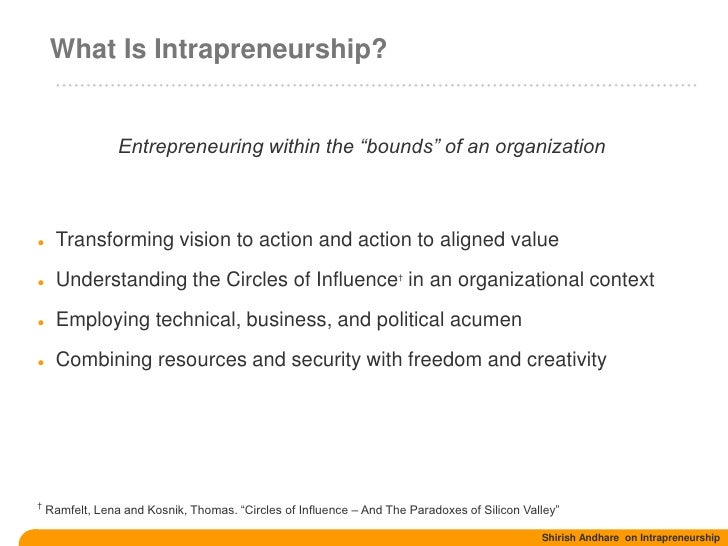 intrapreneurship management and business Downloadable i explore the factors that determine whether new business opportunities are exploited by starting a new venture for an employer ('nascent intrapreneurship') or independently ('nascent entrepreneurship') analysis of a nationally representative sample of american adults gathered in.