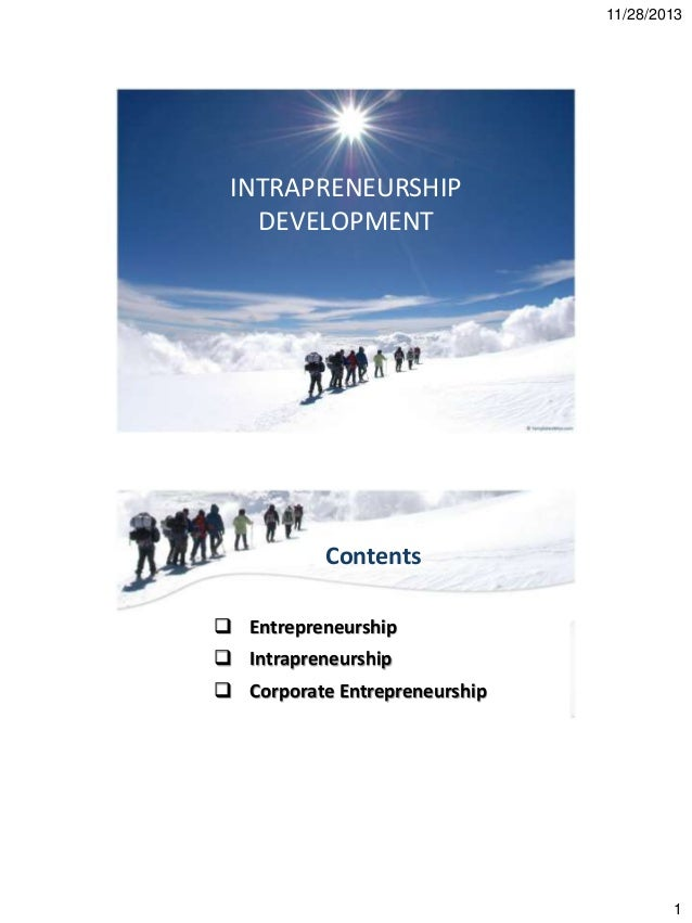 11/28/2013  INTRAPRENEURSHIP DEVELOPMENT  Contents  Entrepreneurship  Intrapreneurship  Corporate Entrepreneurship  1