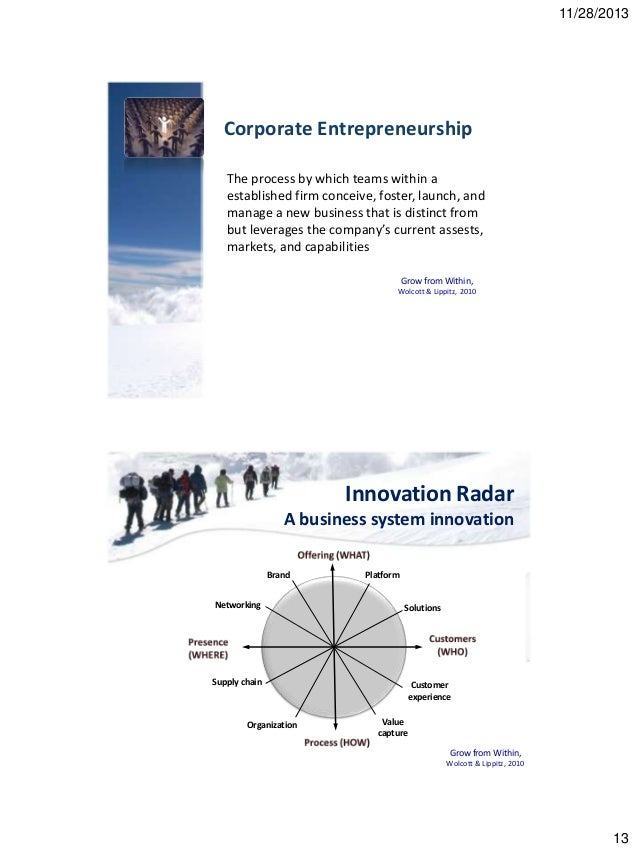 """developing corporate entrepreneurship Four large organizations, that had embarked on formalized """"corporate  entrepreneurship"""" management development programs formed the basis for this  field."""