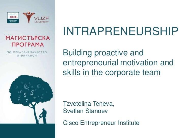 INTRAPRENEURSHIPBuilding proactive andentrepreneurial motivation andskills in the corporate teamTzvetelina Teneva,Svetlan ...