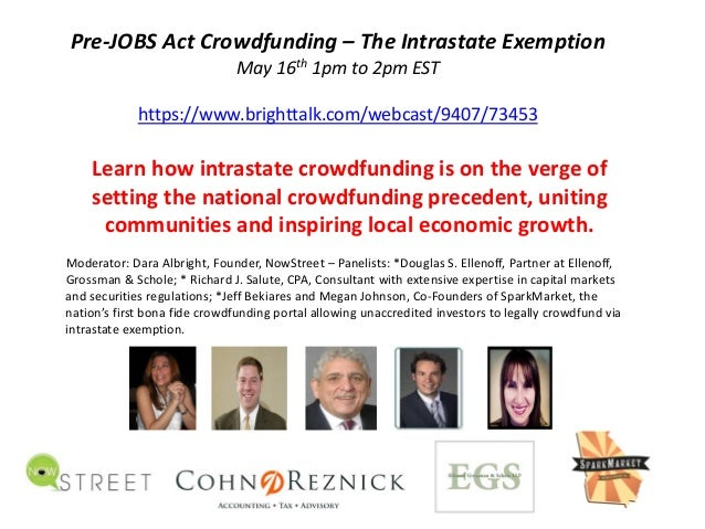 Pre‐JOBS Act Crowdfunding – The Intrastate ExemptionMay 16th 1pm to 2pm ESThttps://www.brighttalk.com/webcast/9407/73453Le...