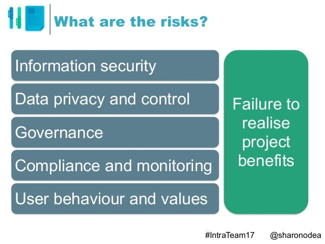 What are the risks? Information security Data privacy and control Governance Compliance and monitoring User behaviour and ...