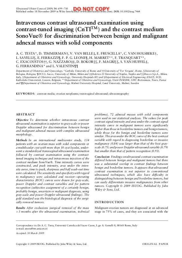 Ultrasound Obstet Gynecol 2009; 34: 699–710 Published online 18 November 2009 in Wiley InterScience (www.interscience.wile...