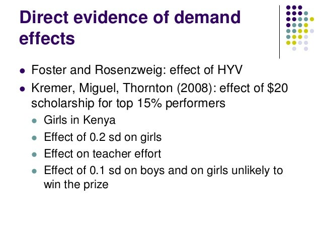 Direct evidence of demandeffects   Foster and Rosenzweig: effect of HYV   Kremer, Miguel, Thornton (2008): effect of $20...