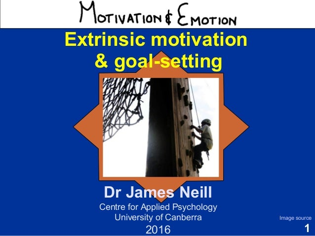 1 Motivation & Emotion Dr James Neill Centre for Applied Psychology University of Canberra 2016 Image source Extrinsic mot...