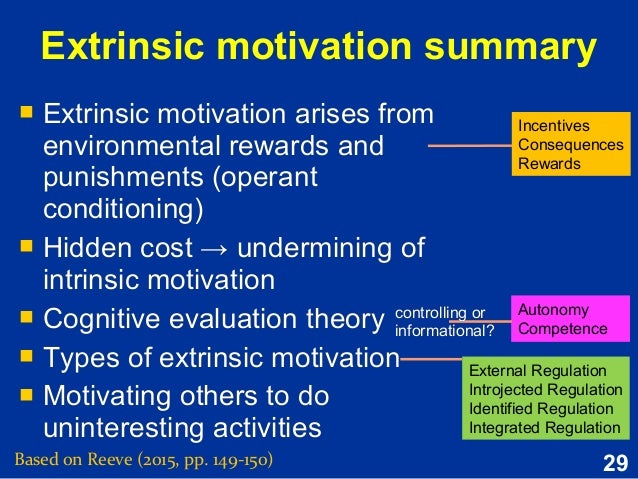 extrinsic reinforcement and intrinsic motivation essay Keywords: extrinsic reinforcement, intrinsic motivation  sons, the effects ofextrinsic rewards are assessed after theextrinsic rewardshave been terminated.
