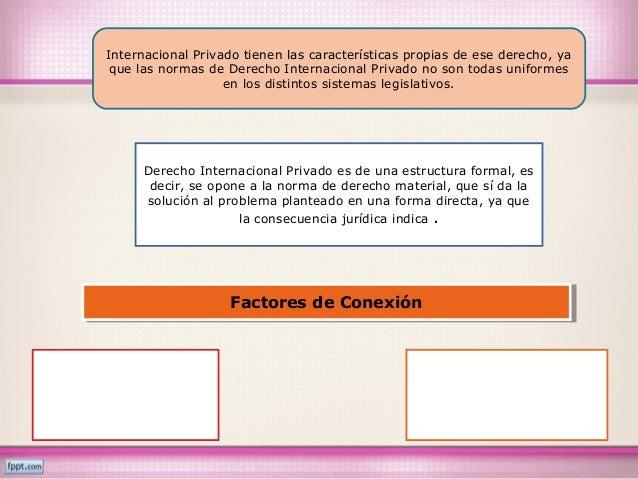 Internacional Privado tienen las características propias de ese derecho, ya que las normas de Derecho Internacional Privad...
