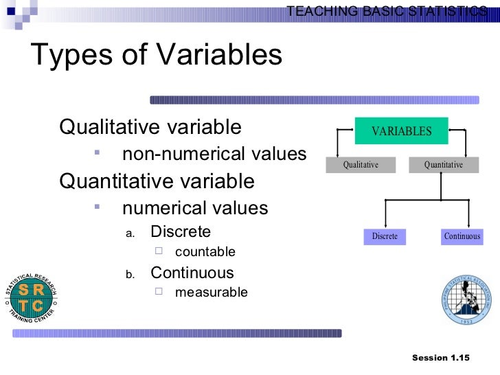 types of variables in statistics The data type is a fundamental component of the semantic content of the variable, and controls which sorts of probability distributions can logically be used to describe the variable, the permissible operations on the variable, the type of regression analysis used to predict the variable, etc.