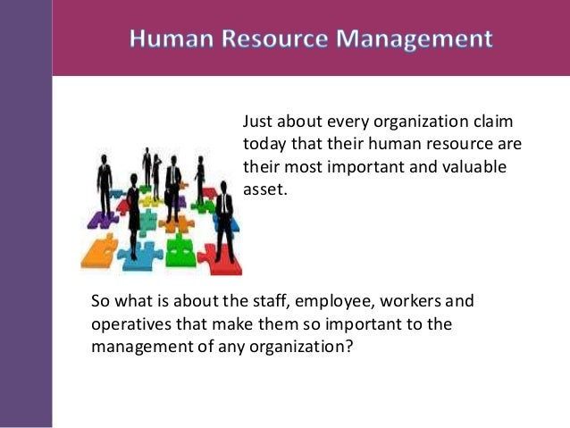 Just about every organization claim today that their human resource are their most important and valuable asset.  So what ...