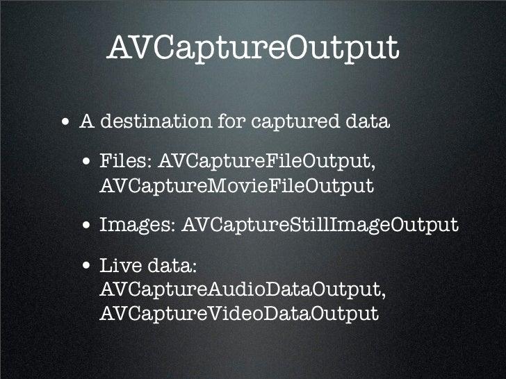 Avcaptureoutput Example