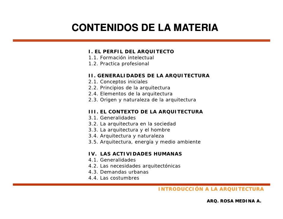 Principios de arquitectura for Arquitectura materias