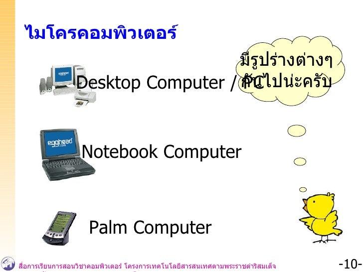 ไมโครคอมพิวเตอร์ มีรูปร่างต่างๆ กันไปน่ะครับ Desktop Computer / PC Notebook Computer Palm Computer