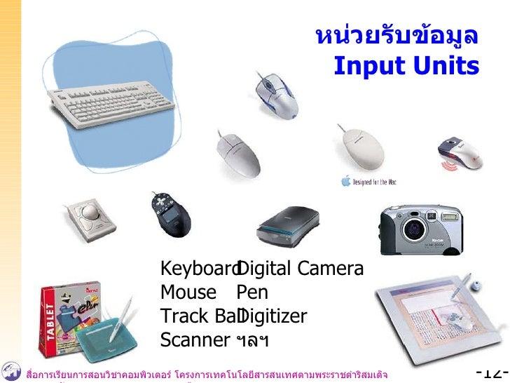 หน่วยรับข้อมูล Input Units Keyboard Mouse Track Ball Scanner Digital Camera Pen Digitizer ฯลฯ
