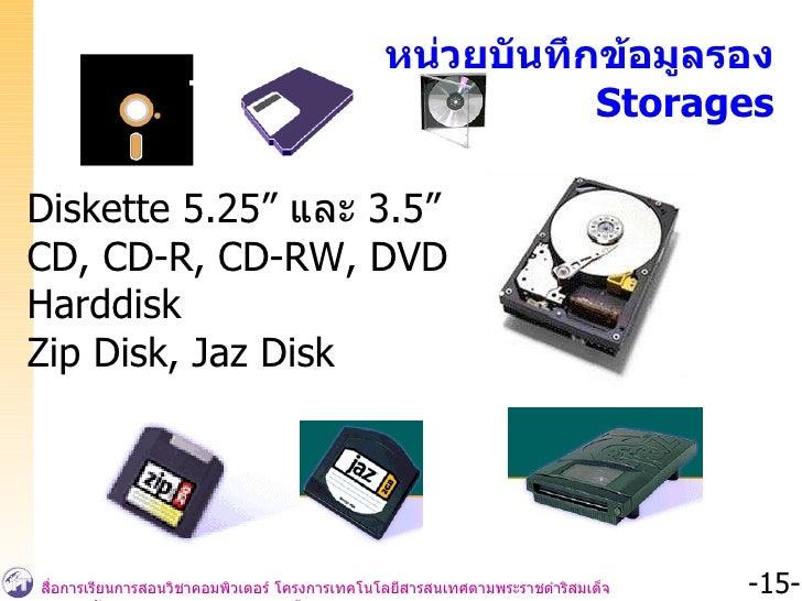 """หน่วยบันทึกข้อมูลรอง Storages Diskette 5.25""""  และ  3.5"""" CD, CD-R, CD-RW, DVD Harddisk Zip Disk, Jaz Disk"""