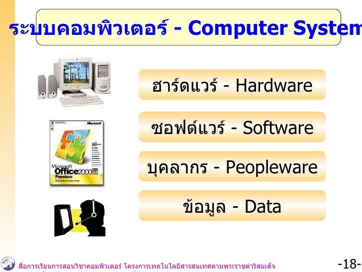 ระบบคอมพิวเตอร์  -  Computer System ฮาร์ดแวร์  - Hardware ซอฟต์แวร์  -  Software บุคลากร  - Peopleware ข้อมูล  -  Data