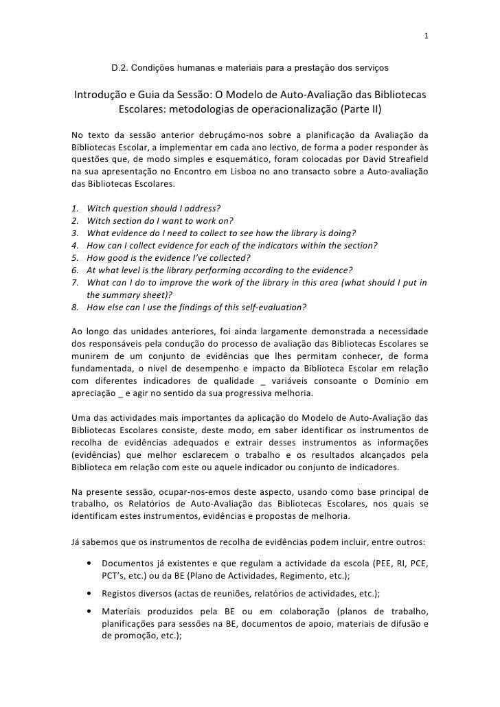 1              D.2. Condições humanas e materiais para a prestação dos serviços  Introdução e Guia da Sessão: O Modelo de ...