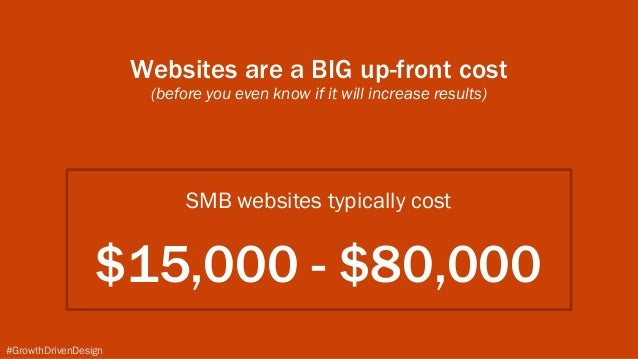 SMB websites typically cost $15,000 - $80,000 #GrowthDrivenDesign Websites are a BIG up-front cost (before you even know ...