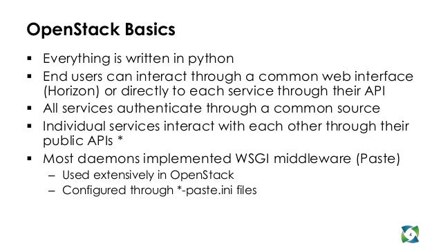 OpenStack Basics Everything is written in python End users can interact through a common web interface  (Horizon) or dir...