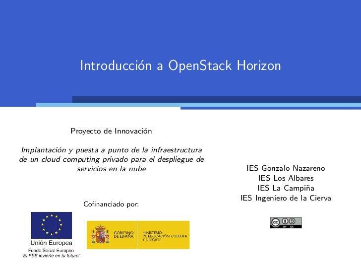 Introducci´n a OpenStack Horizon                          o              Proyecto de Innovaci´n                           ...