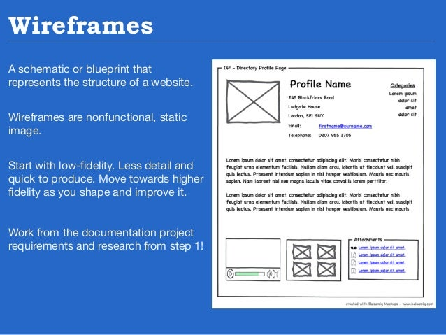 Elements of Wireframes Wireframes address three core elements 1) Information design – the placement and prioritization of ...