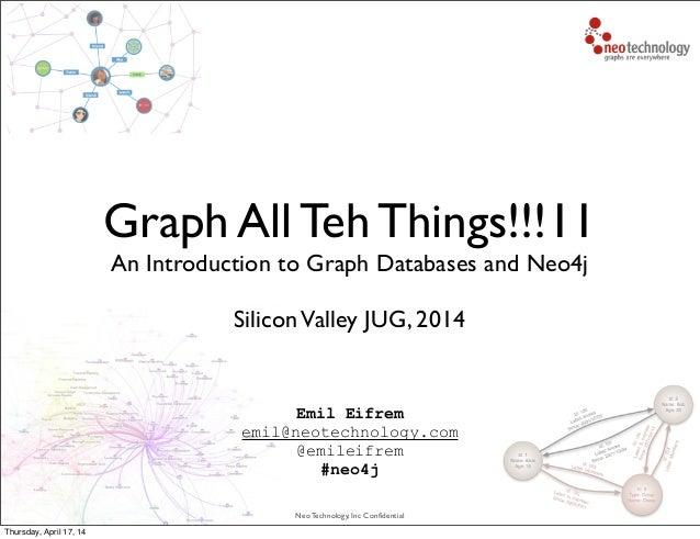 Neo Technology, Inc Confidential Emil Eifrem emil@neotechnology.com @emileifrem #neo4j Graph All Teh Things!!!11 An Introdu...