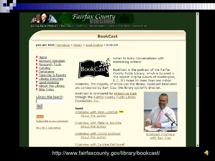 http://www.fairfaxcounty.gov/library/bookcast/