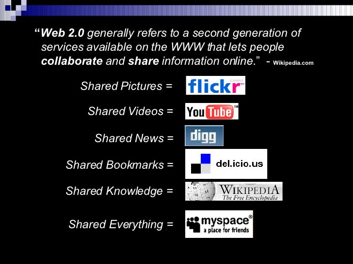 """"""" Web 2.0  generally refers to a second generation of    services available on the WWW that lets people    collaborate  an..."""