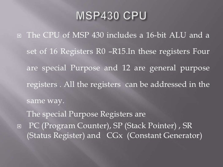 Introduction to MSP 430 Microcontrollers