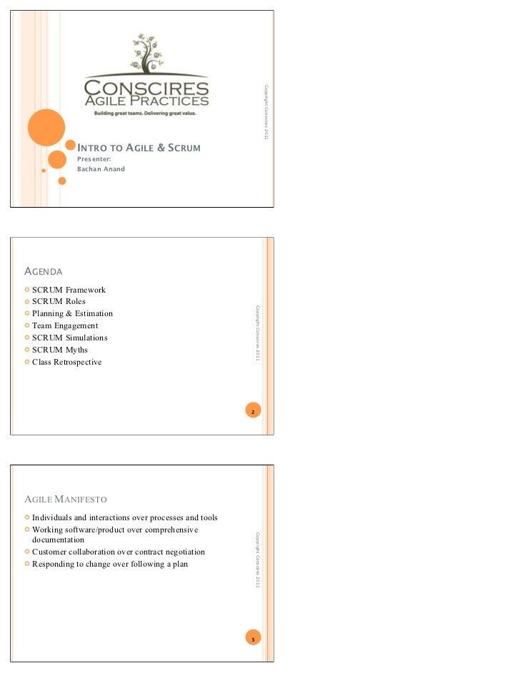 Copyright Conscires 2011              INTRO TO AGILE & SCRUM              Presenter:              Bachan AnandAGENDA SCRU...