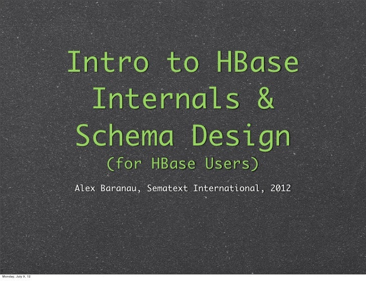 Intro to HBase                      Internals &                     Schema Design                           (for HBase Use...