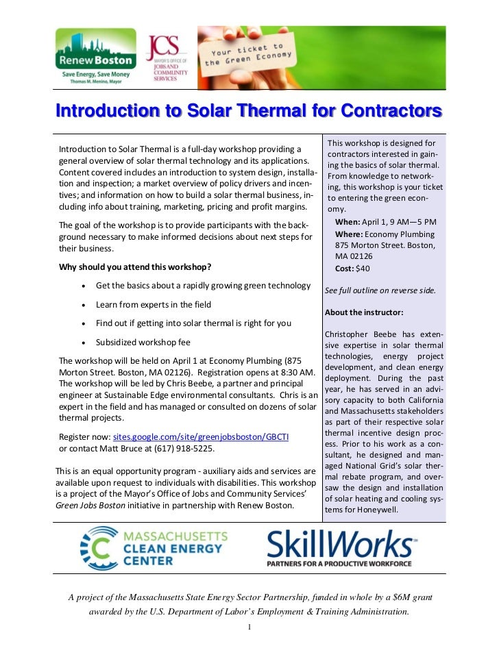 Introduction to Solar Thermal for Contractors                                                                           Th...