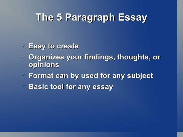 intro paragraph essay thesis the 5 paragraph essay <ul><li>easy to create < li the basic format