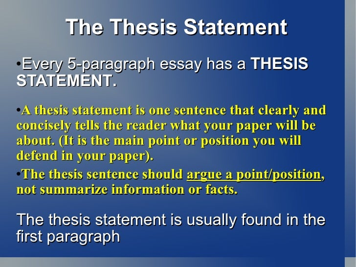 Process Paper Essay The Thesis Statement  Essay For Science also Advanced English Essay Intro  Paragraph Essay  Thesis Argument Essay Thesis Statement