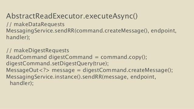 AbstractReadExecutor.executeAsync()  // makeDataRequests  MessagingService.sendRR(command.createMessage(), endpoint,  hand...