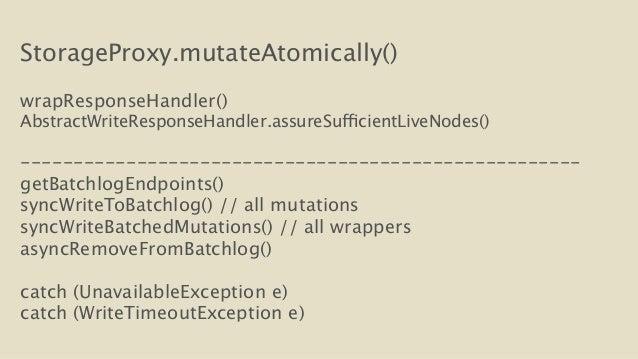 StorageProxy.mutateAtomically()  !  wrapResponseHandler()  AbstractWriteResponseHandler.assureSufficientLiveNodes()  !  --...