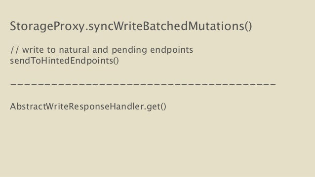 StorageProxy.syncWriteBatchedMutations()  !  // write to natural and pending endpoints  sendToHintedEndpoints()  !  ------...