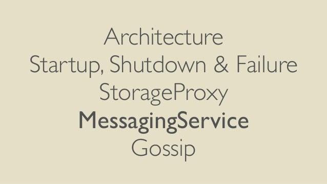 Architecture  Startup, Shutdown & Failure  StorageProxy  MessagingService  Gossip