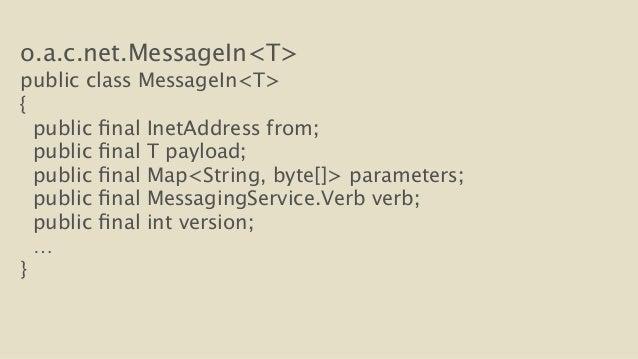 o.a.c.net.MessageIn<T>  public class MessageIn<T>  {  public final InetAddress from;  public final T payload;  public fina...
