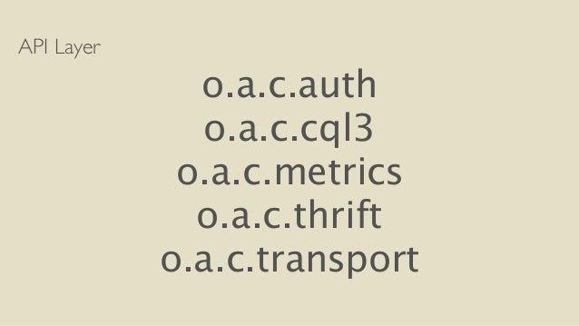 API Layer  o.a.c.auth  o.a.c.cql3  o.a.c.metrics  o.a.c.thrift  o.a.c.transport