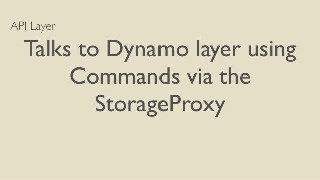 API Layer  Talks to Dynamo layer using  Commands via the  StorageProxy