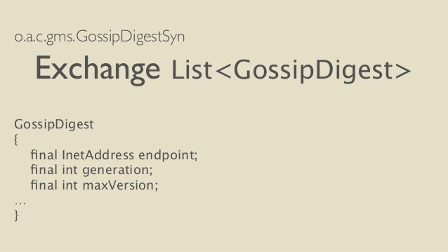o.a.c.gms.GossipDigestSyn  Exchange List<GossipDigest>  !  GossipDigest  {  final InetAddress endpoint;  final int generat...