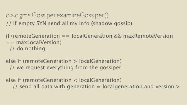 o.a.c.gms.Gossiper.examineGossiper()  // If empty SYN send all my info (shadow gossip)  !  if (remoteGeneration == localGe...