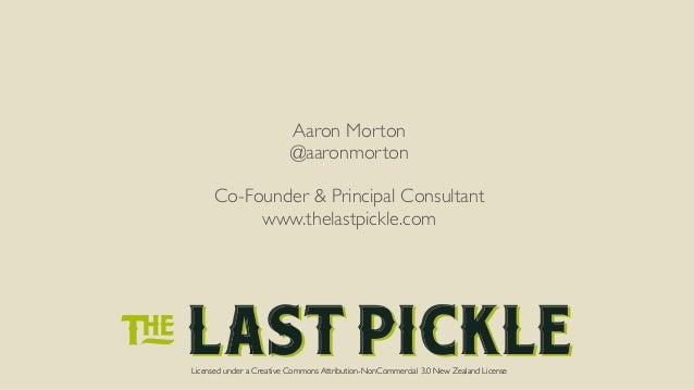 Aaron Morton  @aaronmorton  !  Co-Founder & Principal Consultant  www.thelastpickle.com  !  Licensed under a Creative Comm...