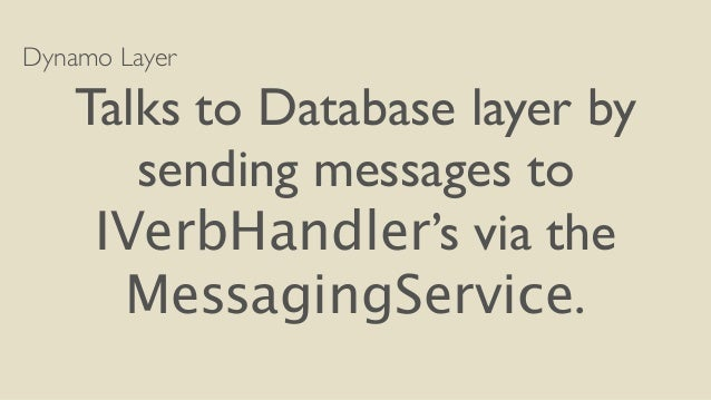 Dynamo Layer  Talks to Database layer by  sending messages to  IVerbHandler's via the  MessagingService.