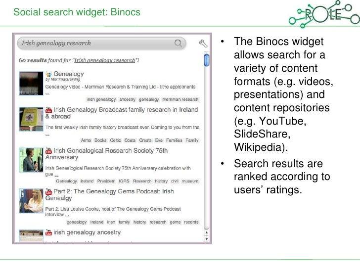 Social search widget: Binocs                               • The Binocs widget                                 allows sear...