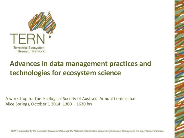 Advances in data management practices and  technologies for ecosystem science  A workshop for the Ecological Society of Au...